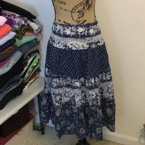 Beautiful blue and white patterned skirt